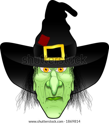 vector cartoon graphic depicting a witch's face (concept: Halloween) - stock vector
