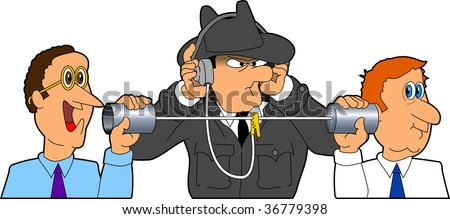 vector cartoon graphic depicting two businessmen speaking with a spy listening - stock vector