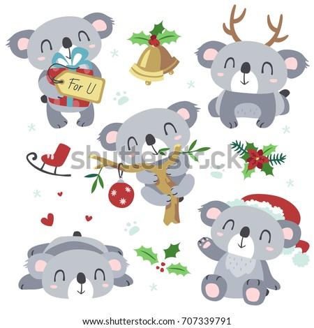vector cartoon grey koala christmas kawaii set