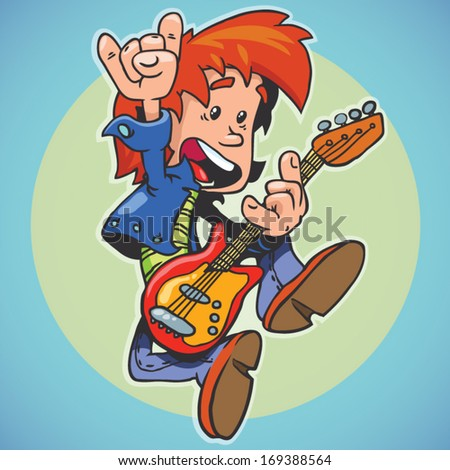 vector cartoon guitarist rock