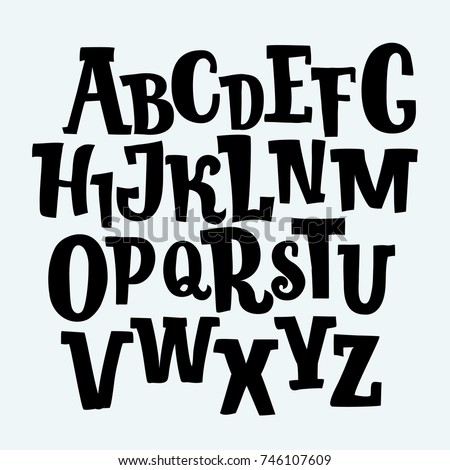 Vector cartoon hand drawn decorative vintage vector ABC serif letters. Nice font for your design.