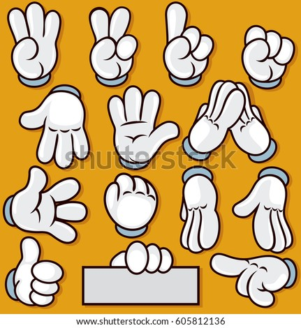Vector Cartoon Hand Sign. Comics Clip art