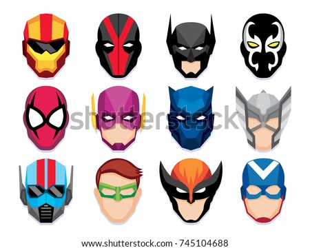 Vector Cartoon Hero Masks Isolated On White Background