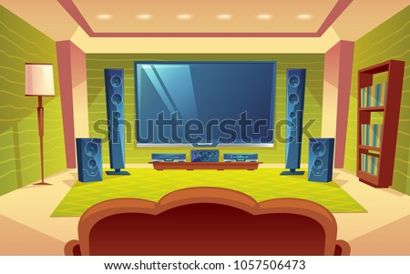 Vector cartoon home theater, audio video system with remote control inside the hall. Plasma monitor on the wall, tv, speakers, sofa, furniture. Modern interior, electronic device with stereo surround