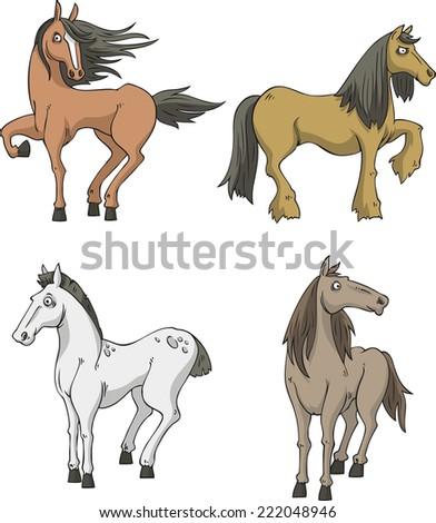 vector cartoon horse collection