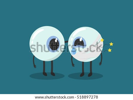 vector cartoon human eyes injury.Used to describe the eye clinic or illnesses related.