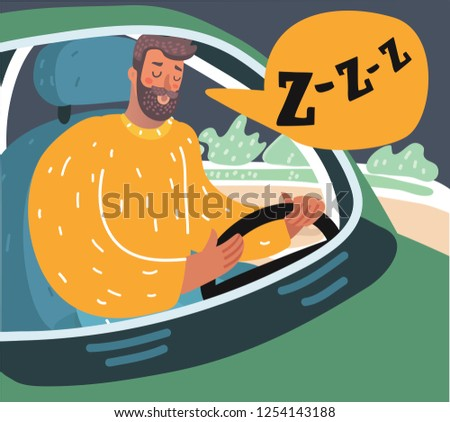 Vector cartoon illusstration of a tired man sitting in traffic. Sliping driver.