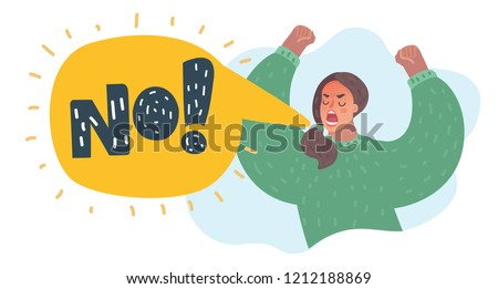 Vector cartoon illustation of No furious screaming woman. Rebel anngry woman roar. Speech balloon with scream exclemation.