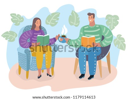 Vector cartoon illustationn of man and woman sitting in chair, reading books and dring tea, people in bookshop or home. Cozy mood.