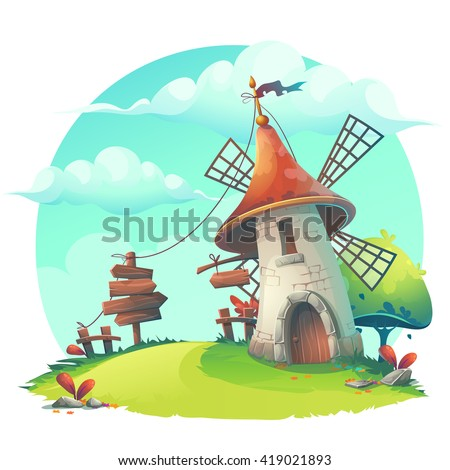 Vector cartoon illustration - background with a windmill, hedge, fence, paling, tree, flower, rocks, rope, stick, lingerie, grass.