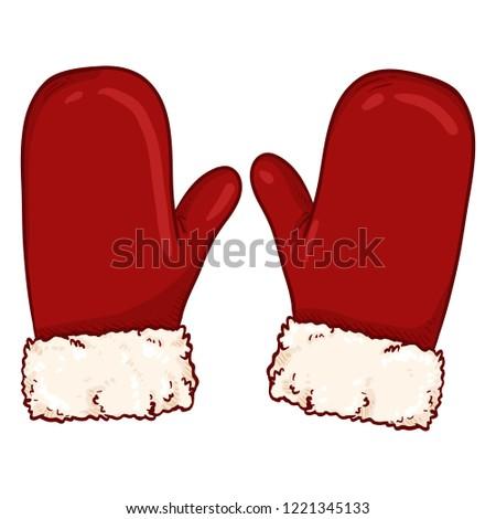 Vector Cartoon Illustration - Christmas Gloves. Mittens of Santa Claus.