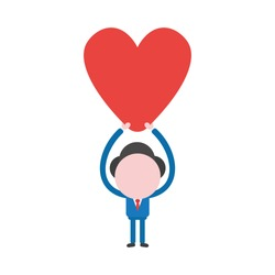 Vector cartoon illustration concept of faceless businessman mascot character holding up red heart symbol icon.