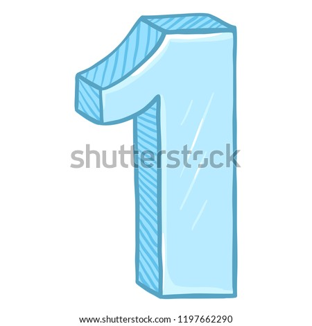 Vector Cartoon Illustration - Number One. The Figure of 1.