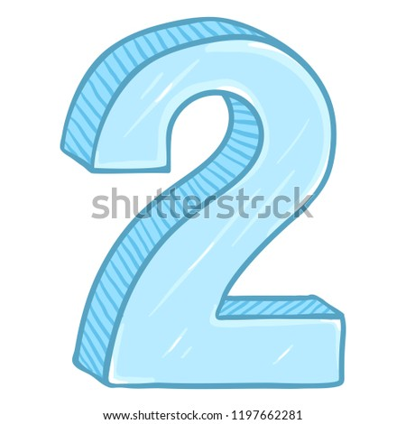 Vector Cartoon Illustration - Number Two. The Figure of 2.