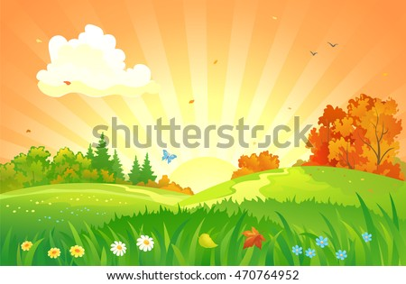 Vector cartoon illustration of a beautiful fall sunset landscape with flower meadows and falling leaves #470764952