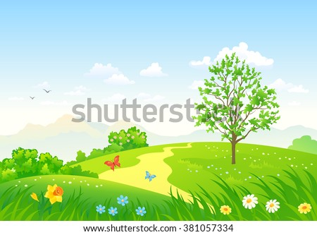 Vector cartoon illustration of a beautiful green spring landscape