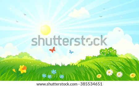 Vector cartoon illustration of a beautiful spring sunny meadow #385534651