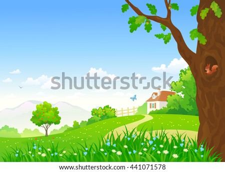 Vector cartoon illustration of a beautiful summer country landscape with a small house and an oak tree