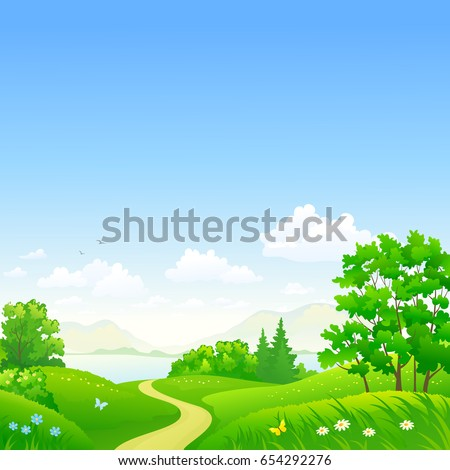 Vector cartoon illustration of a beautiful summer forest and sky, square background