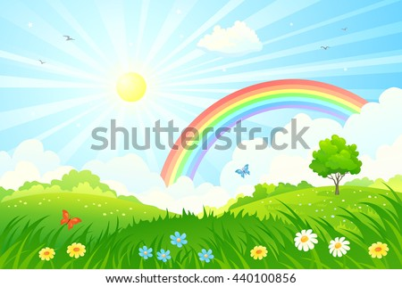 Vector cartoon illustration of a beautiful summer landscape with sun and rainbow