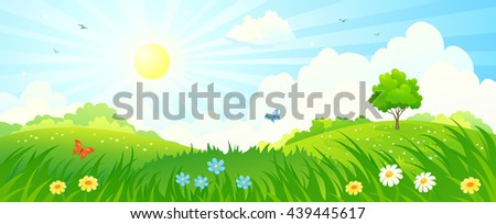 Vector cartoon illustration of a beautiful summer sunny meadow panorama #439445617