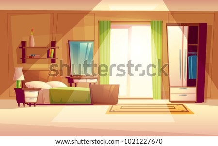 Vector cartoon illustration of a cozy modern bedroom, living room with double bed, bookshelf, cupboard, window, dresser, carpet, interior inside. Colorful background, apartment concept with furniture