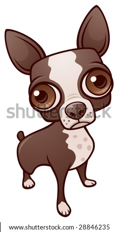 Vector cartoon illustration of a cute Boston Terrier puppy dog or chihuahua.