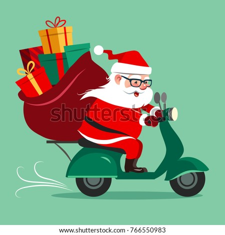 Vector cartoon illustration of a cute happy Santa Claus riding a motor scooter, with a sack full of colorful boxed gifts. Christmas holiday greeting card design element in contemporary flat style.