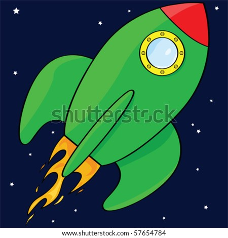 Vector cartoon illustration of a green rocket ship in space