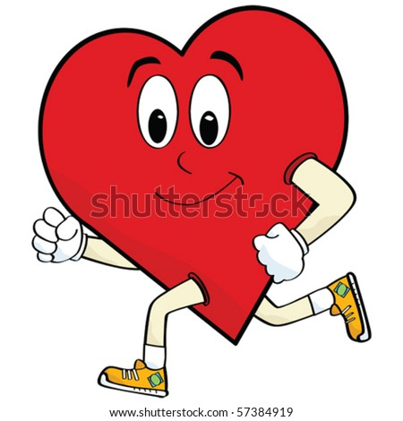 Vector cartoon illustration of a heart running to keep healthy - stock vector