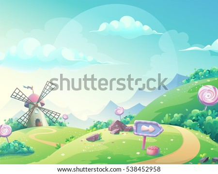 Vector cartoon illustration of a landscape with marmalade candy mill. For print, create videos or web graphic design, user interface, card, poster.