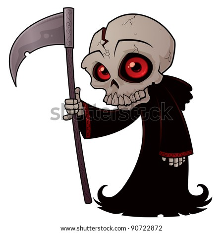 Vector cartoon illustration of a little Grim Reaper with red eyes holding a scythe.