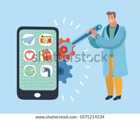Vector cartoon illustration of a man in work clothes with a spanner is repair big smartphone and sets up with gear of phone.