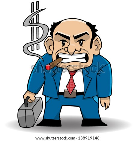 Vector cartoon illustration of a rich banker.