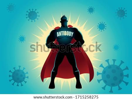 Vector cartoon illustration of a superhero as antibody against viruses. Covid-19, coronavirus concept