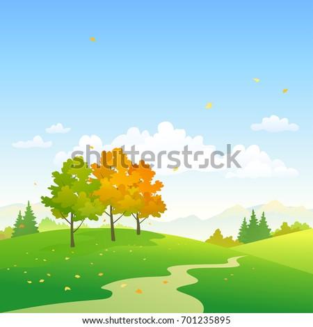 Vector cartoon illustration of an autumn nature background