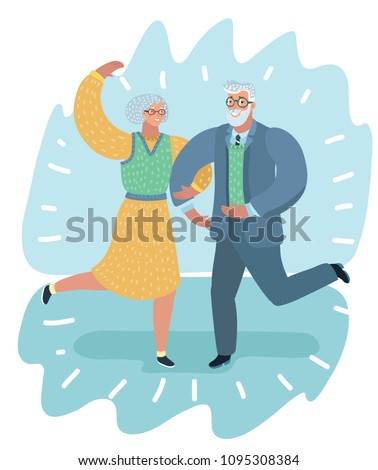 Vector cartoon illustration of an Elderly Couple Dancing at a Party. Human characters.