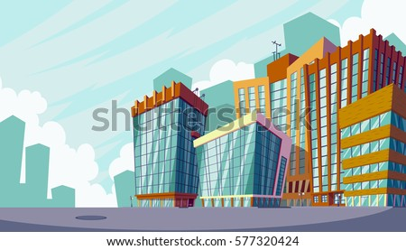 Vector cartoon illustration of an urban landscape with large modern buildings.