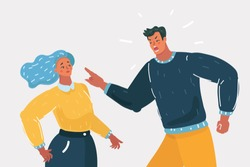 Vector cartoon illustration of Angry man arguing shouting blaming of problem to woman, frustrated husband and wife quarreling about bad marriage relationships, unhappy young family fighting concept.