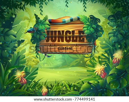 Vector cartoon illustration of background rainforest. Bright thicket with title. For design game, websites and mobile phones, printing.