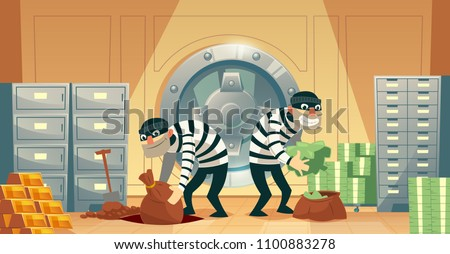 Vector cartoon illustration of bank robbery in safety vault. Two thieves stealing gold, cash, currency. Criminals throw money to undermining. Security concept, storage protection, business template ストックフォト ©