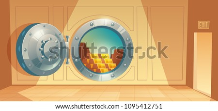 Vector cartoon illustration of bank vault, metallic iron safe door. Gold, cash, currency inside of room. Financial concept, business template. Storage gate with electronical lock.