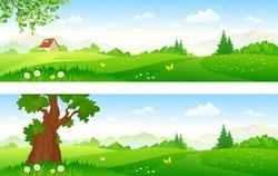Vector cartoon illustration of beautiful summer landscapes