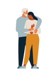Vector cartoon illustration of Beautiful woman hugging man with tender love expression. Love, family, close, together, relatives.