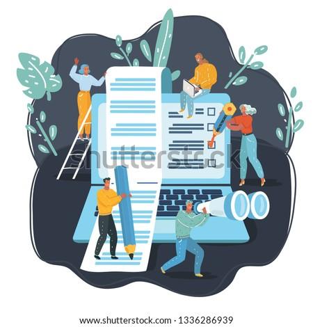 Vector cartoon illustration of blogging, education, creative, content management, web page, social media, news, copyrighting, seminars, tutorial, testing, searching, analytics. big laptop, tiny people