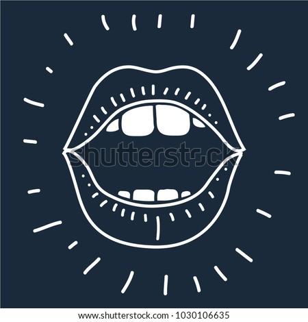 Vector cartoon illustration of cartoon vector outline illustration human mouth open on black background. Outline image.