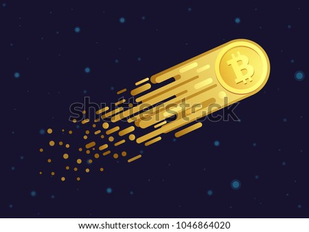 Vector Cartoon illustration of comet with golden bitcoin symbol flying in open galaxy space.