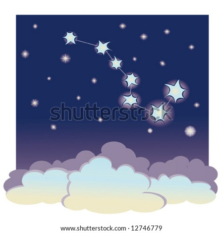 "vector cartoon illustration of constellation ""the Great Bear"" - stock vector"