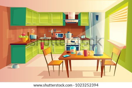 Vector cartoon illustration of cozy modern kitchen with appliances, fridge, stove, toaster, microwave, kettle. Comfortable and clean dining-room, interior inside, concept with furniture and tableware