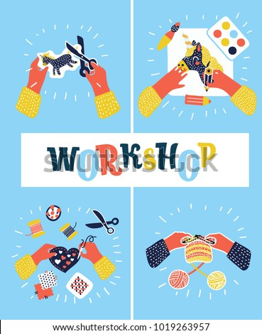 Vector cartoon illustration of creative kids lab, top view, creative kids hands. Cutting paper, painting, knitting, embroidery, applique, sawing. Child workshop. Colorful concept in modern style set.